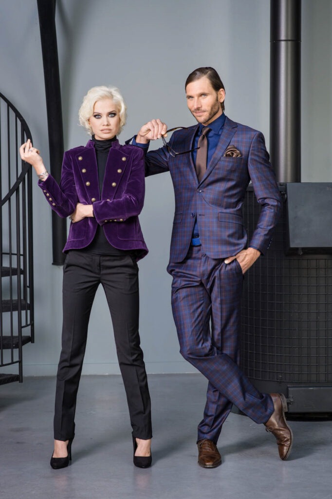 Photo de mode, homme et femme en costume